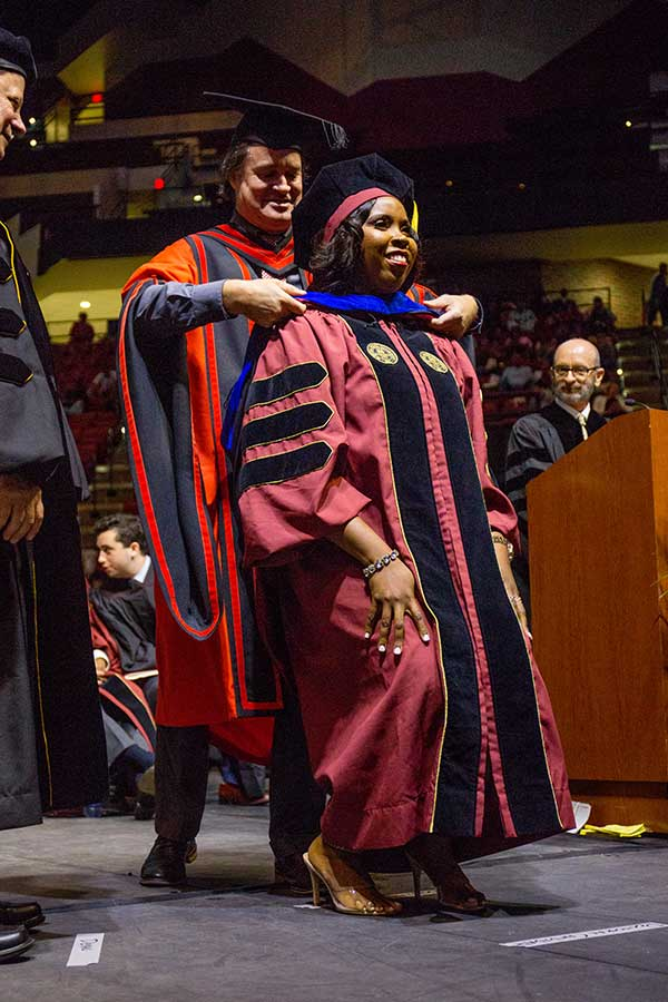 Kalisa Villafana made history during Friday night's ceremony when she became the first black female graduate to earn a doctoral degree in physics from FSU. (FSU Photography Services)