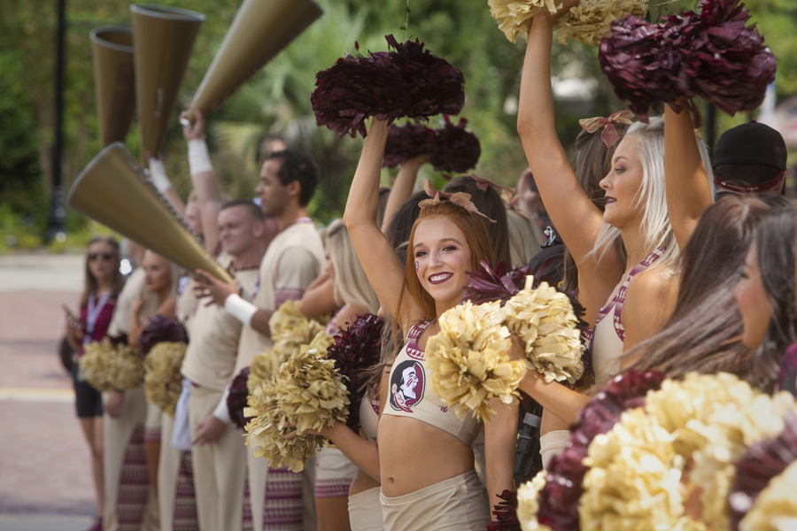FSU Cheerleaders at the Legacy Team Walk before the Louisville football game Sept. 21, 2019. (FSU Photography Services)