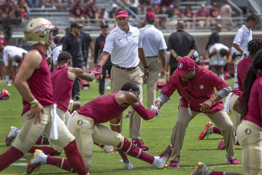 FSU Football warm up before the Louisville game Sept. 21, 2019. (FSU Photography Services)