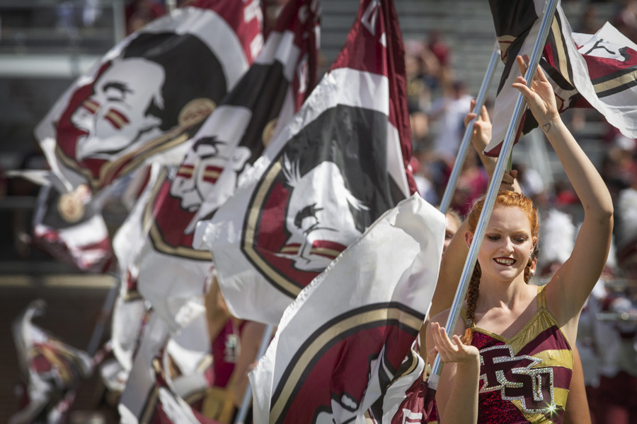 FSU Marching Chiefs perform before the Louisville game Sept. 21, 2019. (FSU Photography Services)