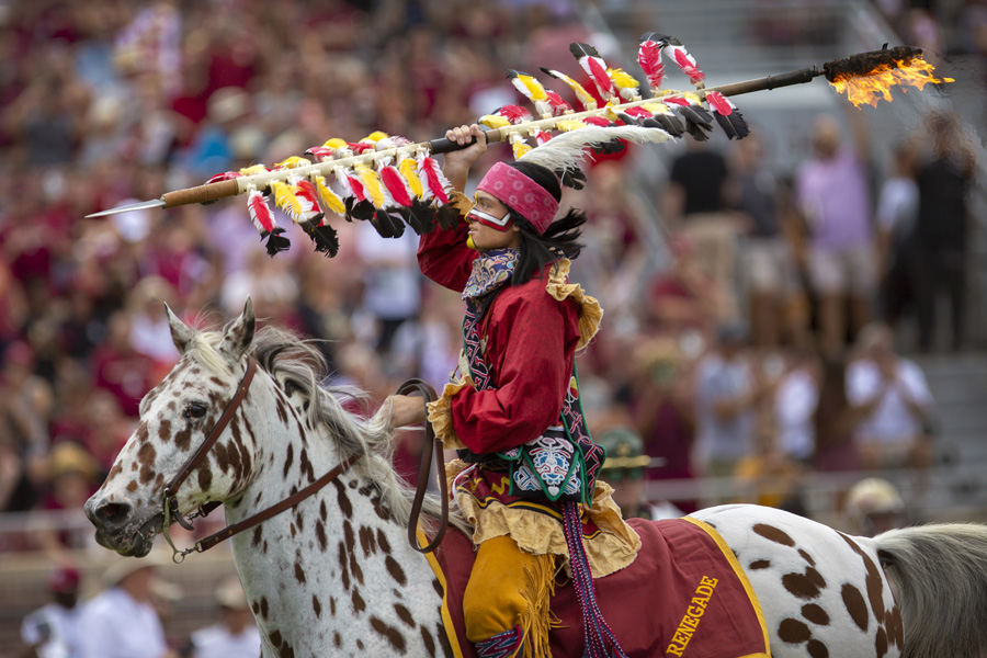 Osceola and Renegade ride onto the field at the Louisville game Sept. 21, 2019. (FSU Photography Services)