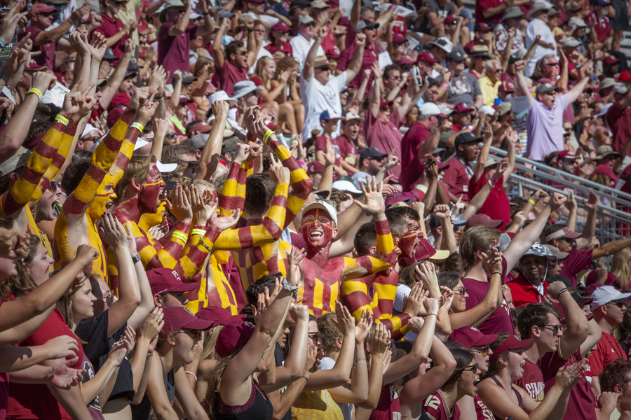 FSU fans in the stands at the Louisville game Sept. 21, 2019. (FSU Photography Services)