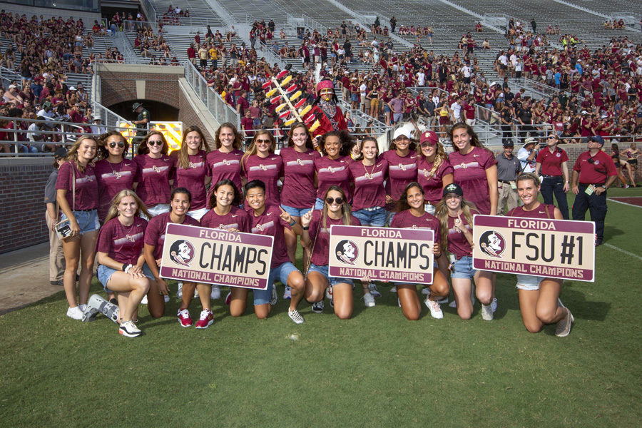 FSU's 2018 NCAA Women's Soccer National Champions were recognized during halftime of the FSU-Louisville football game Sept. 21, 2019. (FSU Photography Services)