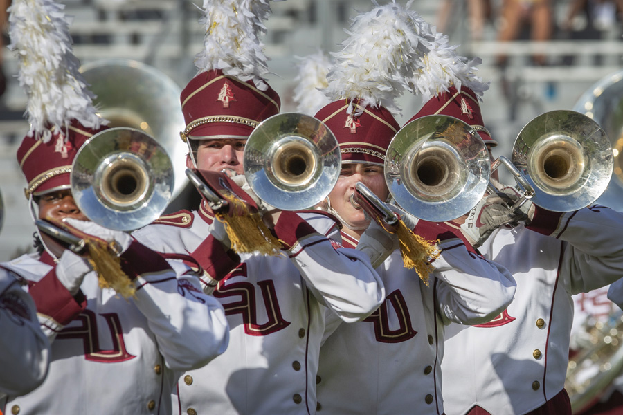 FSU Marching Chiefs during their halftime performance at the Louisville game Sept. 21, 2019. (FSU Photography Services)