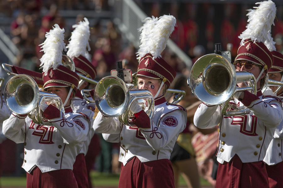 FSU Marching Chiefs during their halftime performance at the Louisville game Sept. 21, 2019. (FSU Photography Services)FSU Marching Chiefs during their halftime performance at the Louisville game Sept. 21, 2019. (FSU Photography Services)