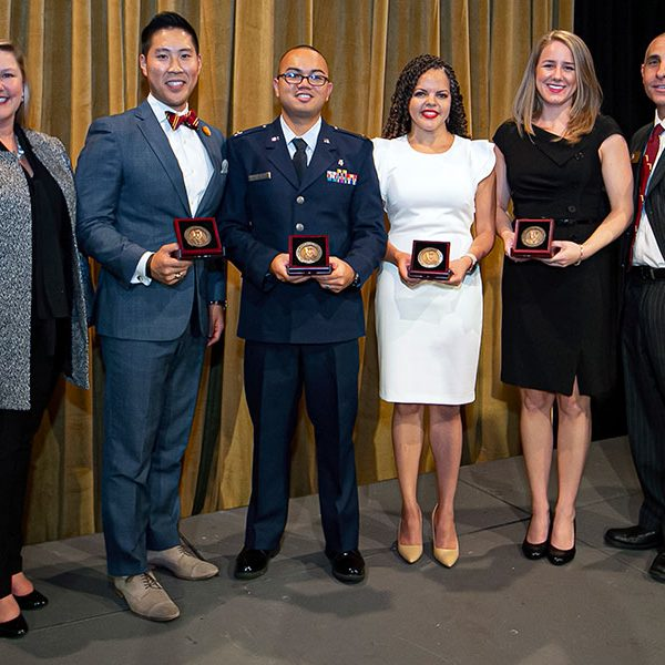 From left: FSU Alumni Association President and CEO Julie Cheney with 2019 Reubin O'D. Askew awardees Zach Heng, Captain Danilo Belarmino, Aurélie Mathieu and Ashley Russell and chair of the National Board of Directors Sam Ambrose. (Photo by Steve Chase)