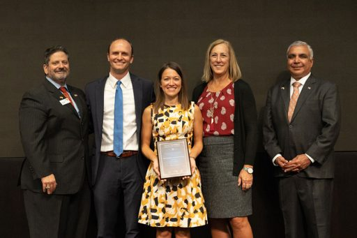 Members of the Graduation Completion Campaign team are recognized at the 2019 TaxWatch Productivity Awards. From left: Dominic M. Calabro, President and CEO of Florida TaxWatch; Assistant Provost Joe O'Shea; Jill Flees, director of the Graduation Planning and Strategies Office; Graduation Specialist Lynn Helton; Piyush Patel, President and CEO of Kyra Solutions, Inc.