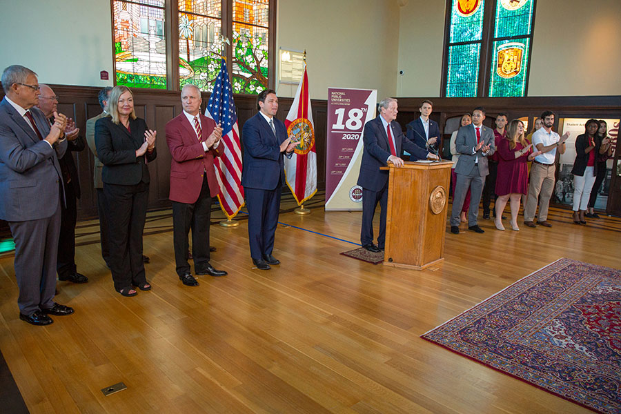 President John Thrasher joined Gov. Ron DeSantis and other state officials, longtime faculty, key administrators and staff members, and high-achieving students at Florida State University's historic Dodd Hall Sept. 9, 2019, to celebrate FSU's ascent to No. 18 among national public universities in the latest U.S. News & World Report rankings. (FSU Photography Services)