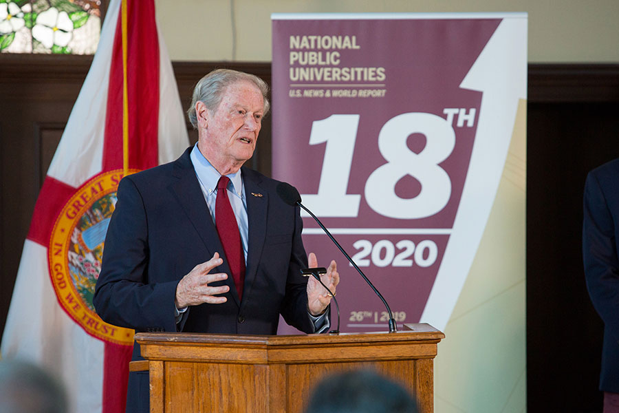 President John Thrasher congratulates faculty, staff and students on FSU's rise to No. 18 in the U.S. News & World Report rankings of national public universities during a news conference Sept. 9, 2019. (FSU Photography)