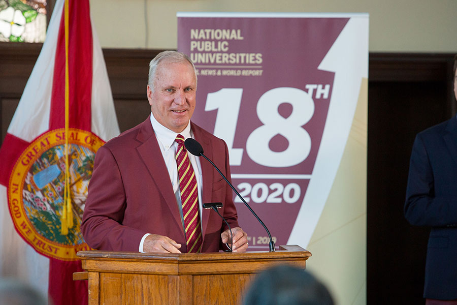 FSU Board of Trustees Chair Ed Burr speaks during a news conference Sept. 9, 2019 to celebrate FSU's rise to No. 18 in the U.S. News & World Report rankings of national public universities. (FSU Photography)