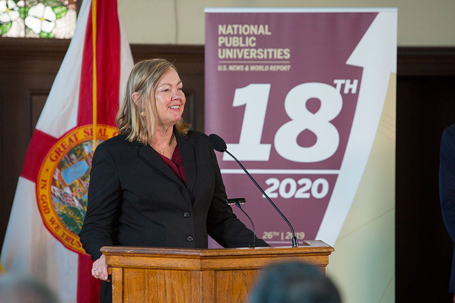 Provost Sally McRorie speaks during a news conference Sept. 9, 2019 to celebrate FSU's rise to No. 18 in the U.S. News & World Report rankings of national public universities. (FSU Photography)