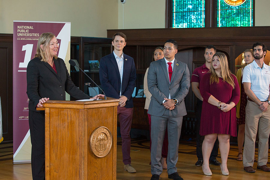 Provost Sally McRorie praised the Division of Academic Affairs team for their work in championing student success, the primary factor in FSU's ascent in the U.S. News rankings, during a news conference Sept. 9, 2019. (FSU Photography Services)