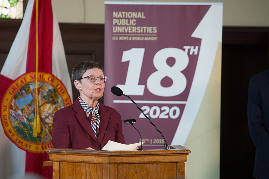 FSU Faculty Senate President Kristine Harper speaks during a news conference Sept. 9, 2019 to celebrate FSU's rise to No. 18 in the U.S. News & World Report rankings of national public universities. (FSU Photography)