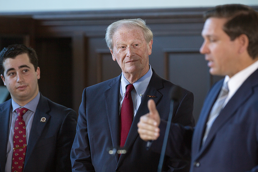 President John Thrasher looks on during a news conference Sept. 9, 2019 to celebrate FSU's rise to No. 18 in the U.S. News & World Report rankings of national public universities. (FSU Photography)