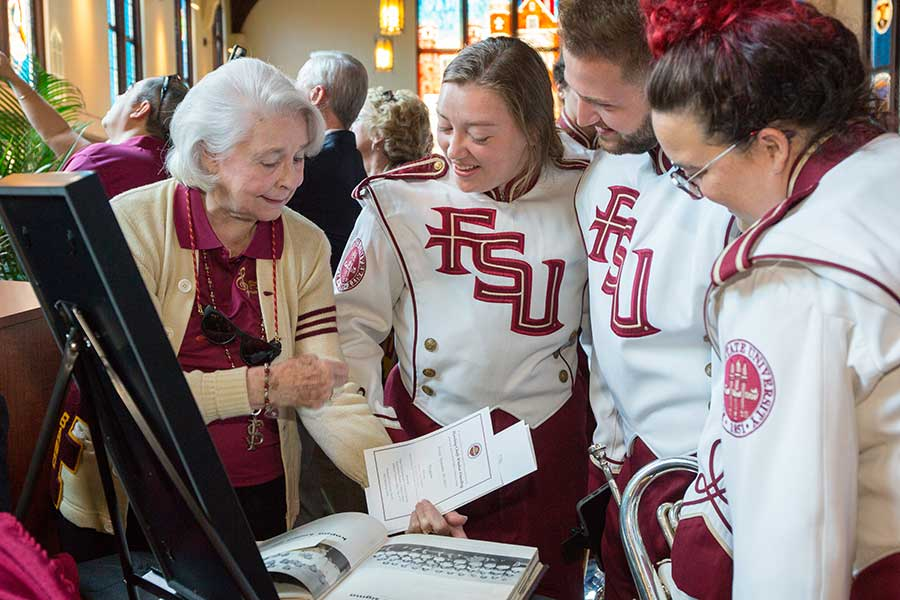 The design process began more than a year ago with Ashby recounting her memories of the band to designers at FSU's Master Craftsman Studio. She envisioned certain details that would reflect all eras of the band since its inception 66 years ago. (FSU Photo/Bill Lax)