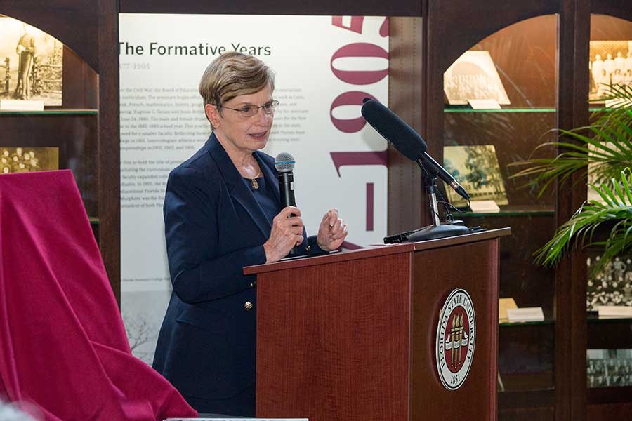 Patricia Flowers, dean of the College of Music, spoke during the ceremony. (FSU Photo/Bill Lax)