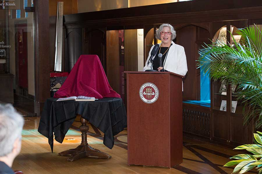 Gale Etschmaier, dean of University Libraries, spoke during the ceremony. (FSU Photo/Bill Lax)