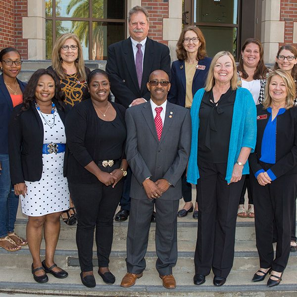 From left: (Front) Lililita Johnson-Forbes, Jessica Rogers, Calvin Mardembrough, Provost Sally McRorie and Cindy Green. (Back) Cherrianne Dangleben York, Betty Jensen, Assistant Provost Stephen McDowell, Kristen Hagen, Ashley Krutz and Jocelyn Vaughn.
