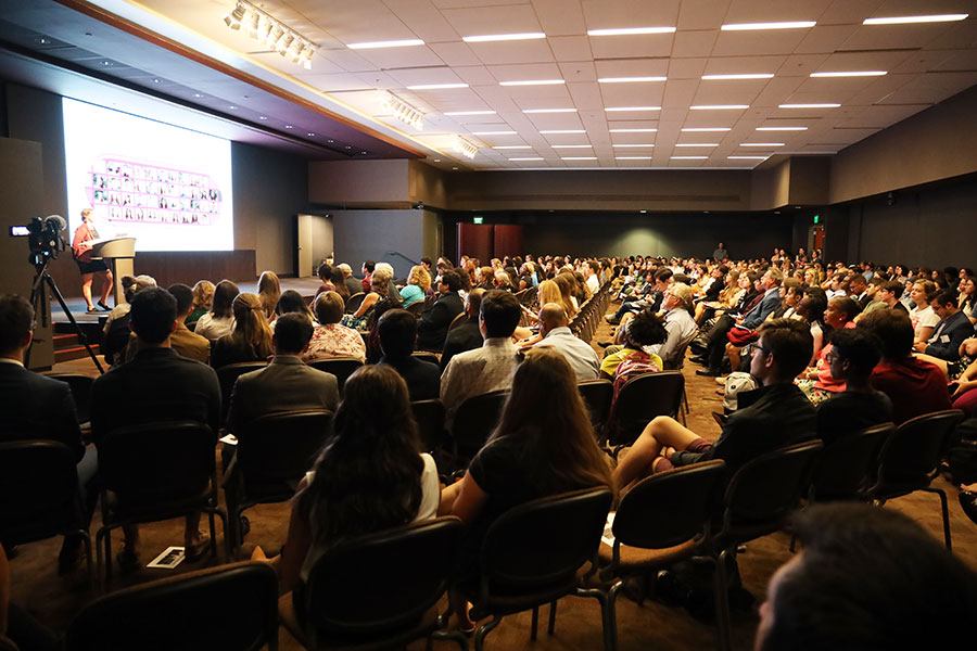 Attendees of the 2019 President's Showcase of Undergraduate Research Excellence listen to the opening remarks. (Bayard Stern)