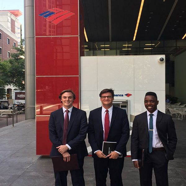Senior Keegan Stinnett experienced a day in the life of a banking executive when he shadowed at Bank of America through FSUshadow. (The Career Center)