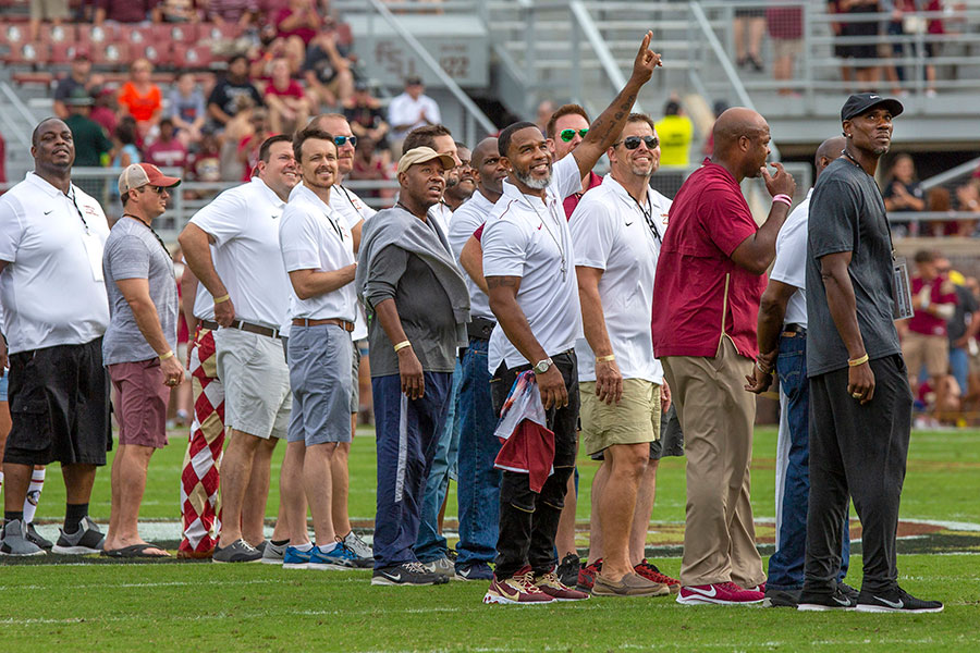 Florida State recognizes the 1999 National Championship Football team during Homecoming at the Syracuse football game Saturday, Oct. 26, 2019. (FSU Photography Services)
