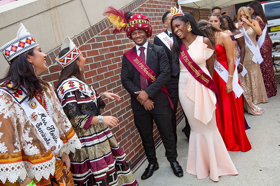 Last year's 2018 Chief and Princess celebrate Homecoming during the Syracuse football game Saturday, Oct. 26, 2019. (FSU Photography Services)