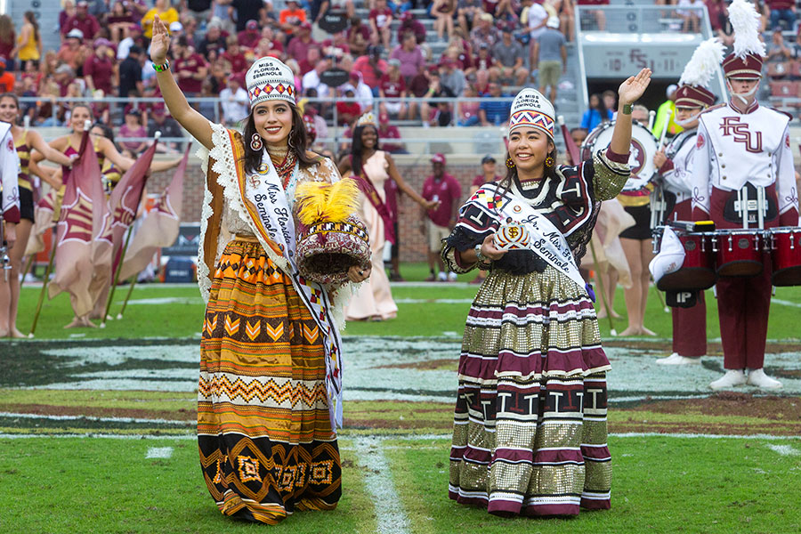 Miss Seminole Florida, Durante Blais-Billie, and Jr. Miss Seminole Florida, Aubee Billie, at the homecoming football game Saturday, Oct. 26, 2019. (FSU Photography Services)