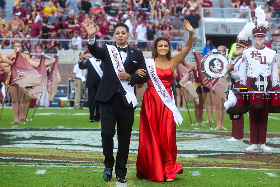 Homecoming court members Max D'Ou Rodriguez and Aaliyah Abarzua during the Syracuse football game Saturday, Oct. 26, 2019. (FSU Photography Services)