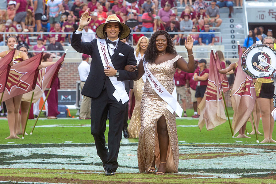 Homecoming court members Dillon Riera and Rose Antoine during the Syracuse football game Saturday, Oct. 26, 2019. (FSU Photography Services)