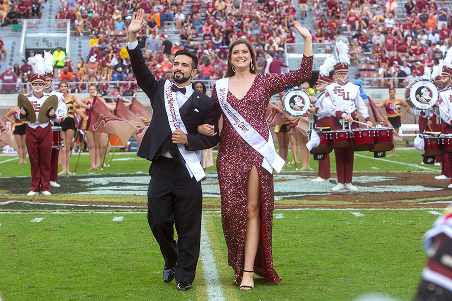 Homecoming court members Manny Osaba and Ally Ingraham during the Syracuse football game Saturday, Oct. 26, 2019. (FSU Photography Services)