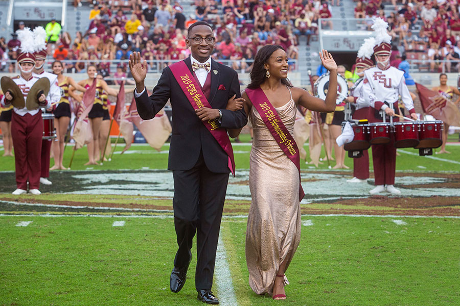 Homecoming Chief and Princess, Caleb Dawkins and Olivia Hopkins, during the Syracuse football game Saturday, Oct. 26, 2019. (FSU Photography Services)