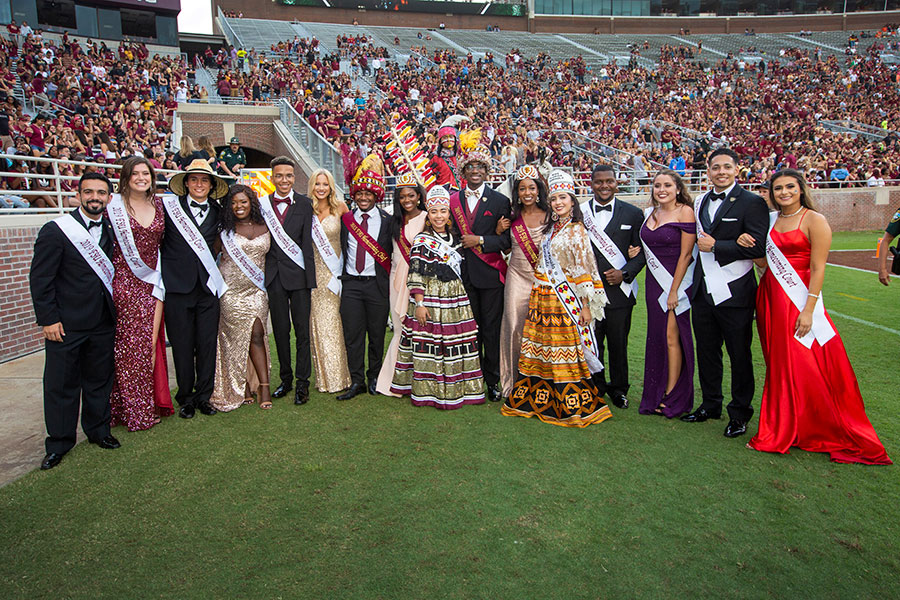 The 2019 homecoming court during the Syracuse football game Saturday, Oct. 26, 2019. (FSU Photography Services)