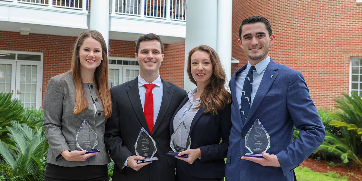 Law students Genevieve Lemley, Luke Waldron, Corie Posey and R. McLane Edwards won first place in the 2019 Mockingbird Challenge National Trial Competition.