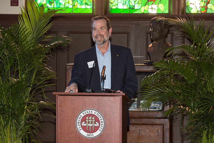 John Raulerson addressed guests at the Master Craftsman Studio's 20th anniversary reception Oct. 9, 2019, at the Heritage Museum in Dodd Hall. (FSU Photography Services)