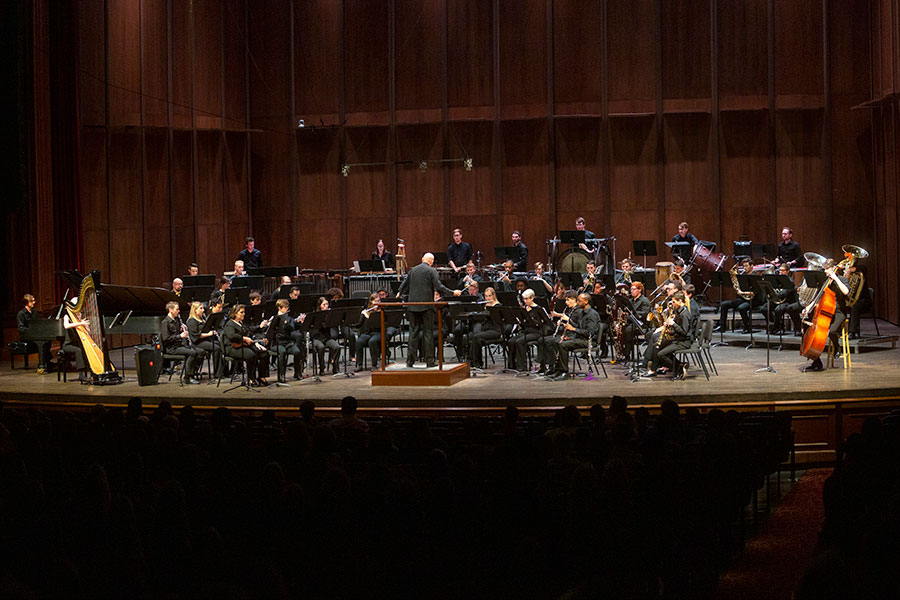 """The FSU Wind Orchestra performed the premiere of """"Pi'ilani and Ko'olau"""" Friday, Sept. 27, in recognition of the CBDNA presidencies held by College of Music faculty. (FSU Photography Services)"""