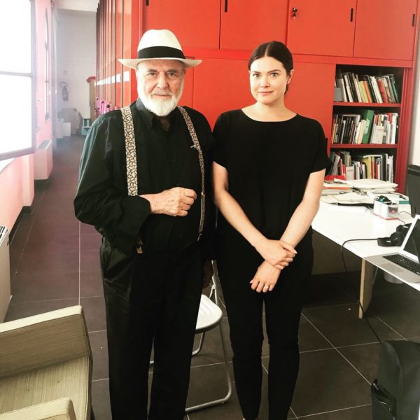 Italian artist Michelangelo Pistoletto (L) and FSU Assistant Professor of Global Contemporary Art Tenley Bick (R). (FSU College of Fine Arts)