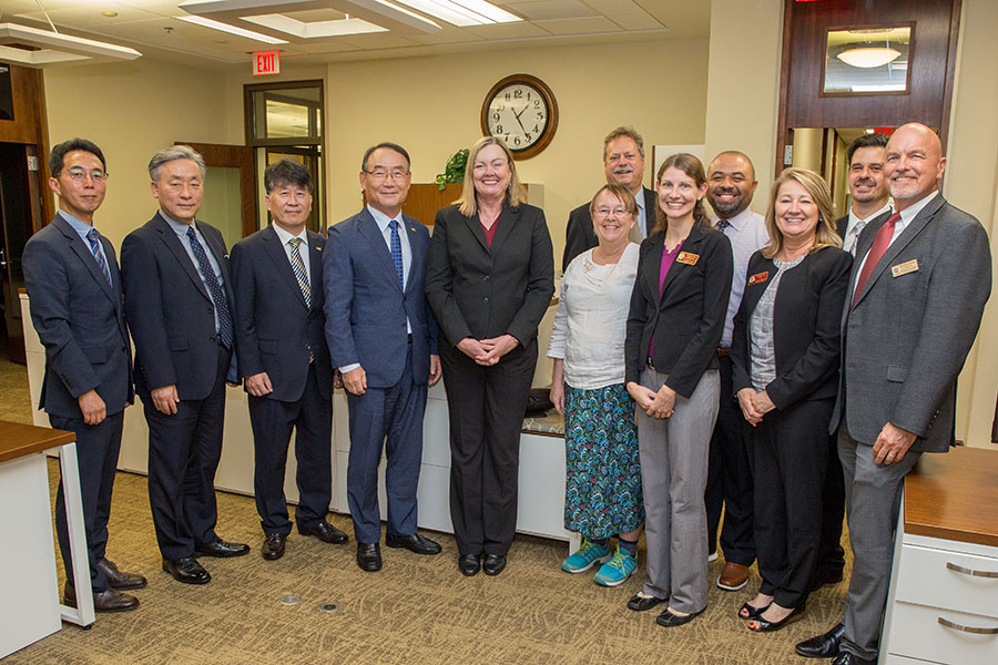 Representatives from Kyonggi University and Florida State University meet during a campus visit Oct. 4, 2019. (FSU Photography Services)
