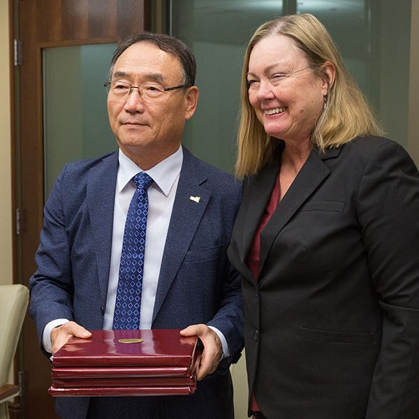 Kyonggi University President In Kyu Kim led Kyonggi and FSU Provost Sally McRorie during a campus visit Oct. 4, 2019. (FSU Photography Services)
