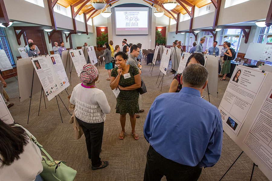Faculty members at the Collaborative Collision event organized by the Office of Research Development. The event helps faculty members find potential collaborators for interdisciplinary projects.
