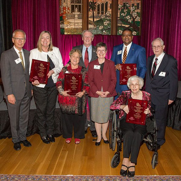 2019 FSU Torch Awards recipients. From left: Steven High, executive director of The Ringling, and Provost Sally McRorie, accepting for Howard Tibbals; Valliere Richard Auzenne; President John Thrasher; FSU Faculty Senate President Kris Harper; Sean PIttman; and Persis and Charles Rockwood.