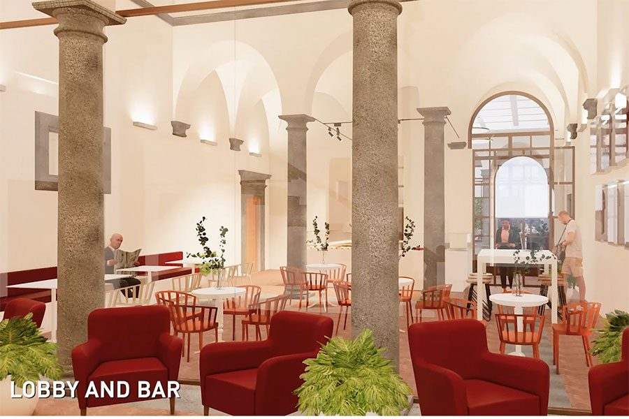 Like much of the center, the lobby boasts soaring columns and high ceilings. The lobby will also house seating and a coffee bar.