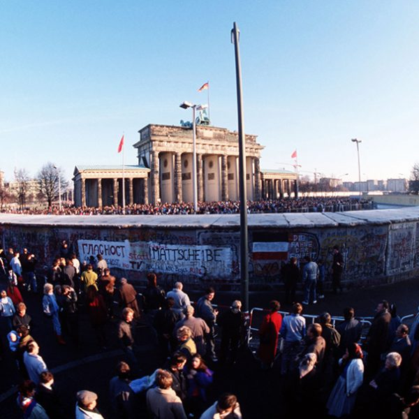 Crowds throng around the Brandenburg Gate following the structure's official opening on December 22.