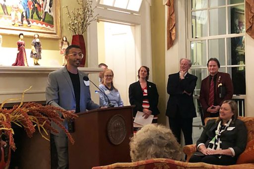Omar Mohammad Al Busaidy is one of nine new Fulbright students on campus this fall. Al Busaidy, from the United Arab Emirates, spoke during the Fulbright reception at the President's House.