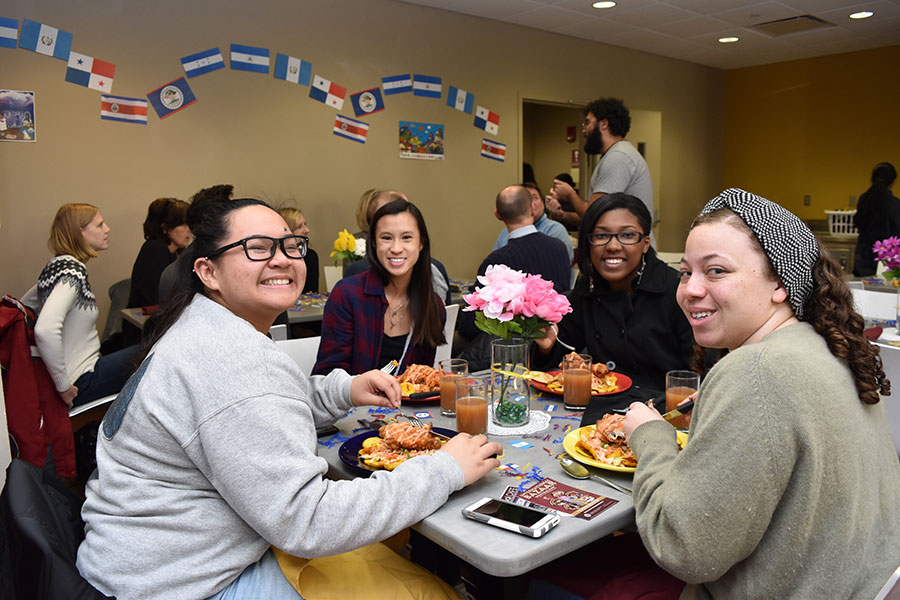 Students enjoy their lunch break during a Central American Global Café.