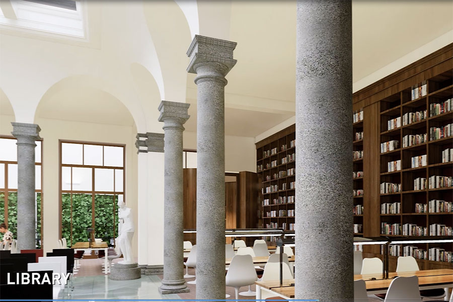 A rendering of the library at the soon-to-be-completed FSU student center in Florence, Italy.