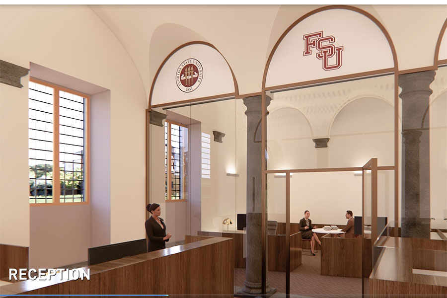 Arched ceilings and columns will feature heavily throughout the study center. A reception area is depicted here.
