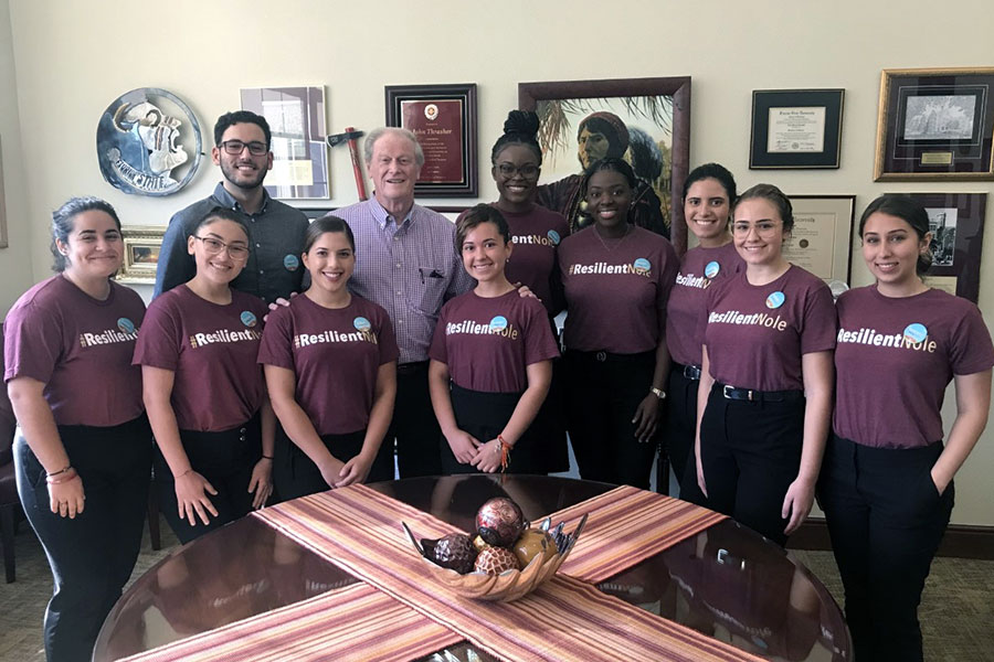 President John Thrasher and the ResilientNoles at a meeting earlier this year.