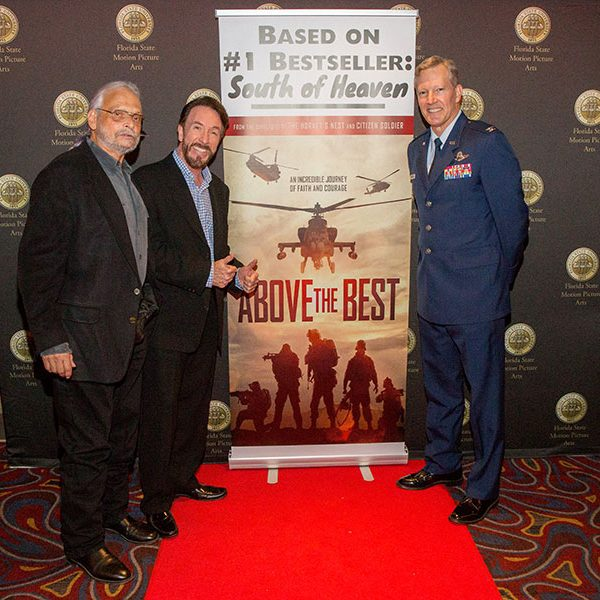 "FSU and Tallahassee rolled out the red carpet for ""Above the Best."" From left: Paul Cohen, director of FSU's College of Motion Picture Arts Torchlight Cinematheque; David Salzberg, co-director of the film; and Billy Francis, director of the FSU Student Veterans Center. (FSU Photography Services)"