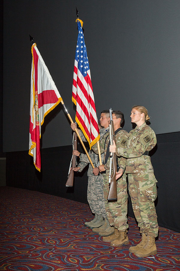 The FSU Joint ROTC Color Guard presents the colors. (FSU Photography Services)
