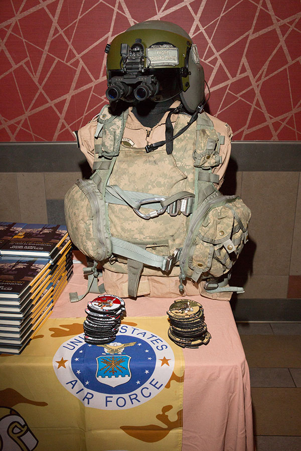 Military memorabilia is displayed at the entrance of the veterans film presentation screening. (FSU Photography Services)